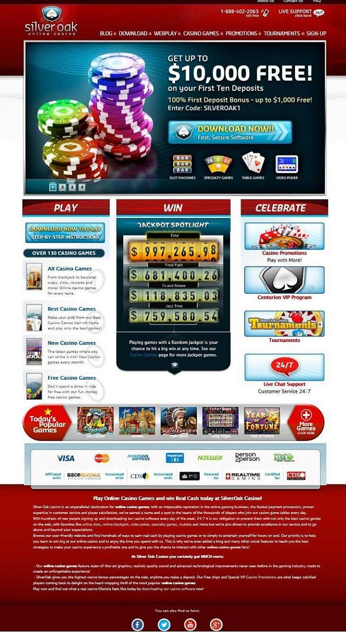 Silver Oak Casino Review Usa Accepted